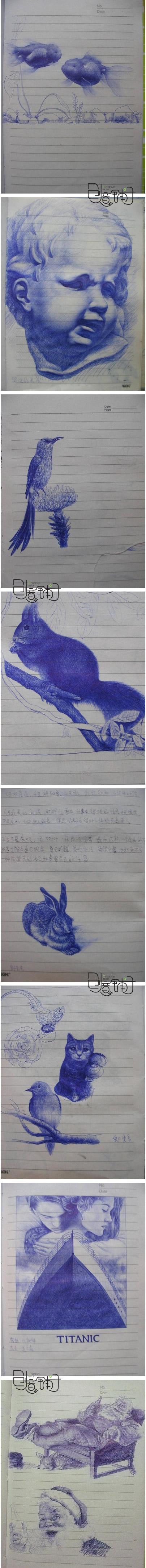 某高三学生用圆珠笔画的,怎么那么有才呢